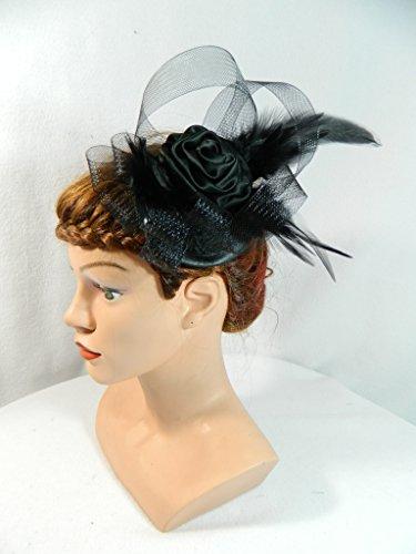 Fascinator schwarz Damenhut Hütchen Anlasshut Gothic Burlesque Gatsby Swing Party Haarschmuck (Haarklemmen Haare Schwarze)