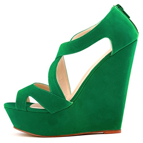 Azbro Exclusive Solid Strappy Platform Peep Toe Wedge High Heels Green 4iMmF