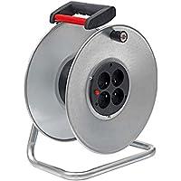 Brennenstuhl Enrouleur de câble Silver livré vide, tambour nu avec 4 prises (2P+T 16A/230V~) & disjoncteur thermique, argent, Quantité : 1