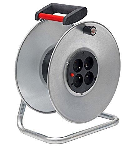 Brennenstuhl enrouleur electrique Silver Jardi, câble 33 m, Rallonge Prolongateur électrique pour intérieur, couleur argent, Fabrication Française