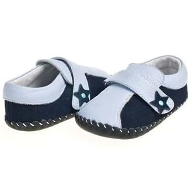 Little Blue Lamb - Chaussures bébé premiers pas cuir souple garçon | Mocassins bleu bicolore - taille 6-12 mois