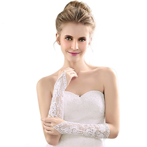 DreamyDesign lange Brauthandschuhe fingerlos Stulpen mit Fingerschlaufe, mit dezenter Spitze Hochzeit Party Sexy Abendkleid Hochzeit (weiß)