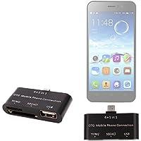 DURAGADGET Lector De Tarjetas Para Jiayu F1   G2F   G4S   G5   JY-S3   S2 Con Función OTG 4 En 1 - TF/M2, SD(HC), USB + Cable USB