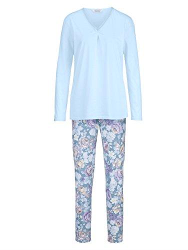 Charmor Damen Schlafanzug bleu/Flieder/vanille