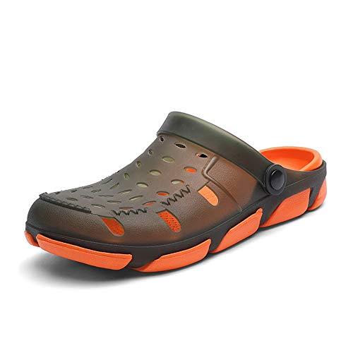 Apragaz Sandali Estivi per Uomo Scarpe da Acqua Casual All'aperto Traspirante in Pelle PU Antiscivolo Slip su Pantofole Impermeabili A Testa Rotonda Leggera (Color : Verde, Dimensione : 40 EU)