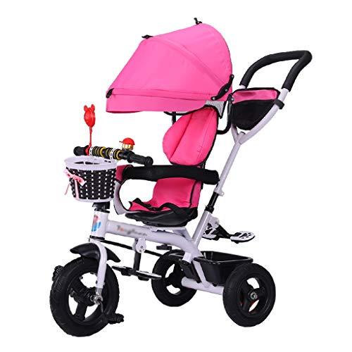 Passeggino per Bambini 4 in 1 Trike Bike Folding ChildrenTricycle con Freni e Carrello smontabile Pieghevole per Bambino 6 Mesi - 6 Anni Rosa
