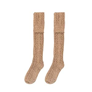 BESTOYARD Gestreifte Kniestrümpfe Überknie Strümpfe Herbst Winter Socken für Frauen Mädchen 1 Paar (Khaki)