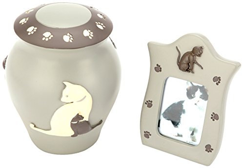 Urns UK-Urna cremación Cenizas urna de Gato con A Juego-Marco de Fotos