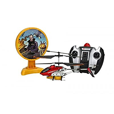 Ukayed RC Helicopter Air Defence Radio Remote Control Police Gyro Helicopter Infrared Target Shooting Fighter Blast your Enemy With Sound & Light Displa (Black)