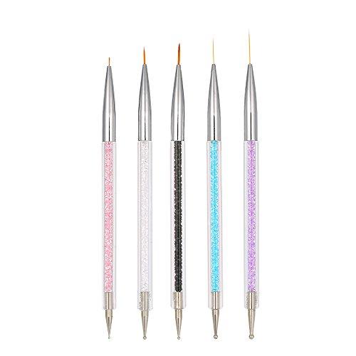 Pennelli Nail Art, Anself 5Pcs Pennello Nail Art Penna Di Disegno Cristallo Acrilico Nail Art Pittura Disegno Linea Di Nylon Capelli Strumento Di Manicure
