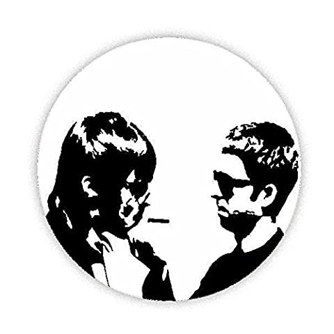 Oasis Noel and Liam (Silhouette) Smoking Button Badge 45mm Medium Pinback Pin Back Lapel Round Gift