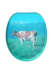 adob 87329 abattant de wc en noyau de bois charni res m talliques r glables motif vache. Black Bedroom Furniture Sets. Home Design Ideas