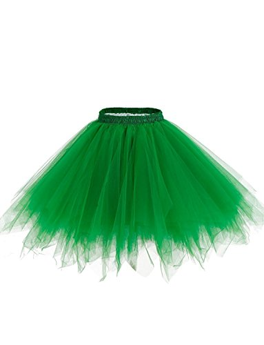 hre Knielanger Petticoat Vintage Krinoline Tüll Ballett-Blase Tutu Rock (Dunkelgrün, L/XL) (Plus Size Tüll Rock)