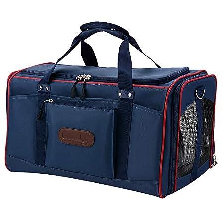 Legendog Faltbar Airline Genehmigt Transportbox für Katzen mit Matte| Katzenbox Transportbox | Leichte Reisetasche Tasche | für Große Katzen Kaninchen 51 * 32 * 33 cm Blau