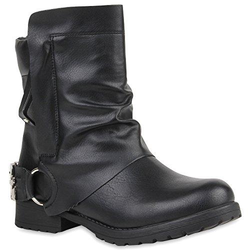 Damen Stiefeletten Biker Boots Schwarze Stiefel Schwarz