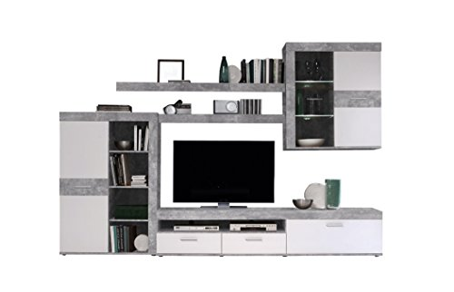 Holz-Wohnzimmerwand inklusive LED-Beleuchtung, Holz, betonoptik / weiß