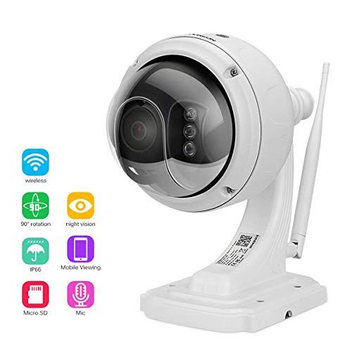 FLOUREON Caméra IP sans Fil PTZ Extérieur 960P Caméra de Surveillance Etanche PTZ Zoom 4X 2 IR-CUT Vision Nocturne Détection de Mouvement Envoi Alarme par Mail Vision à Distance par PC Smartphone P2P Support Carte SD 128Go Max.