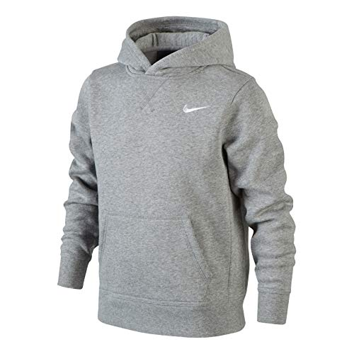 Nike Jungen Kapuzenpullover Brushed Fleece, dk grey heather/white, M, 619080-063 Pullover Jacke Shirt