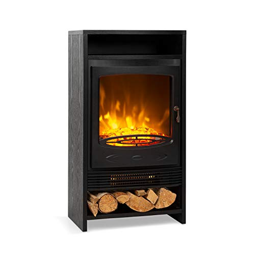 Klarstein Bergamo Chimenea Eléctrica, 2 Niveles de calefacción: 900/1800 W, termostato, Regulable,...