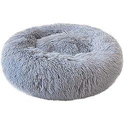 ABenxxou Chien lit, Chaud Tapis de Chien Rond Coussin Grande Taille Panier Lavable pour Chat Animaux de Deluxe Moelleux Lit pour Animal (XL(diamètre de 60cm, Hauteur de 20cm), Gris)