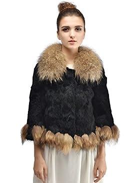 Bellerfur Verdadera piel de conejo de las mujeres capa de la chaqueta de piel de mapache Naturaleza Outwear collar