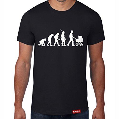 HARIZ Papa Evolution//Original T-Shirt - 16 Farben, XS-4XXL//Männer | Geschenk | Geburtstag | Vatertag | Weihnachten #PAPA Collection Black XL (4 Familie Halloween-ideen Mit)
