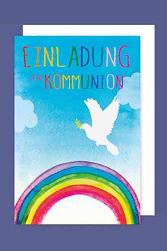 AvanCarte Kommunion Einladungen Karte 5er Set Regenbogen Taube 5 Grußkarten C6