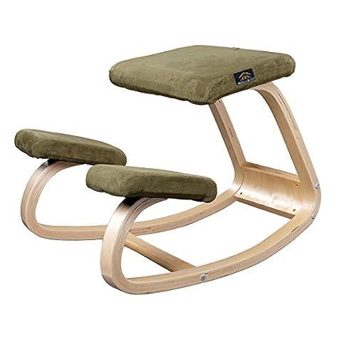 Mallboo en bois ergonomique Chaise à genoux en noir/bleu/vert/blanc/rouge/violet/café Fabirc et cadre en bois naturel