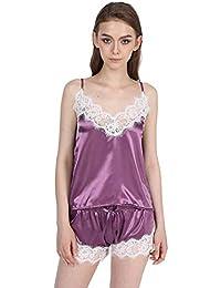ee044ba41d32ee FuweiEncore Satin Pyjamas Set Spitzenbesatz Pijama Kurze Hose Sexy Cami  Braut Nachtwäsche Sets Für Frauen (