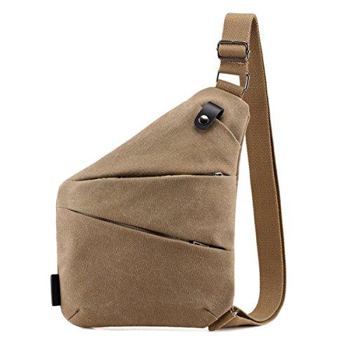 BULAGE Paket Retro Mode Persönlichkeit Leinwand Männer Brustbeutel Einfach Freizeit Reisen Tasche Geht Paket Khaki