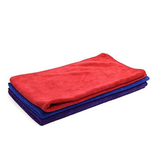 Dealmux 3pcs 400gsm 65 x 33 centimetri blu viola rosso multi-uso carrozzeria del veicolo lavaggio auto panno di pulizia del tovagliolo