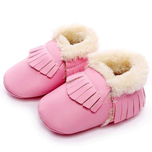 FEITONG Baby Kind weiche Sohle Schnee Aufladungen arbeiten weiche Krippe Kleinkind Schuhe um (0 ~ 6 Monate, Silber) Rosa