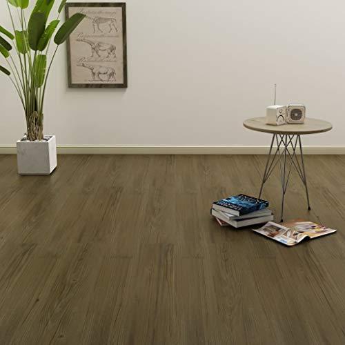Tidyard PVC Laminat Dielen Selbstklebend Laminate Flooring Vinyl Floor Planks Flooring Design Flooring PVC Self-Adhesive 4.46 m2 Grey Brown Non-Slip Waterproof -