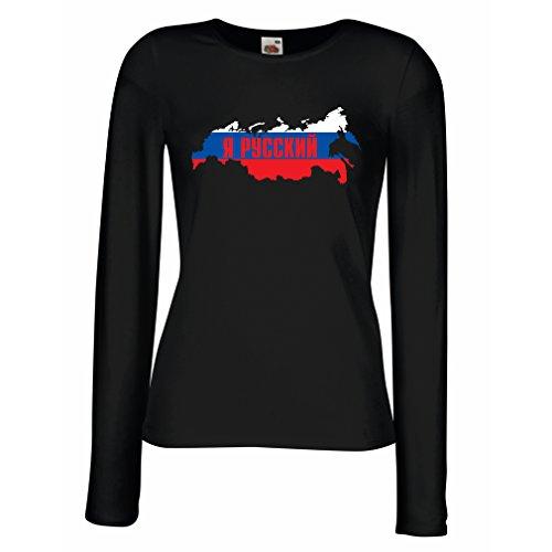 Weibliche langen Ärmeln T-Shirt ЯРуский, Россия, Ich bin Russisch, Russland (Small Schwarz Mehrfarben)