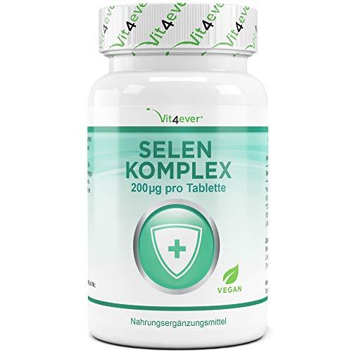 Vit4ever® Selen Komplex - 365 Tabletten mit je 200 mcg - Laborgeprüft - Premium Komplex aus Natriumselenit & Selenmethionin im optimalen 1:1 Verhältnis - Hochdosiert & Vegan - Jahresvorrat