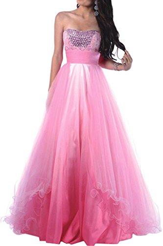 Promgirl House 2017 Damen Romantisch Prinzessin A-Linie Abendkleider Ballkleider Hochzeitskleider Lang Rosa