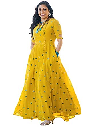 Arayna Women's Long Embroidered Rayon Kurti, Yellow, Small