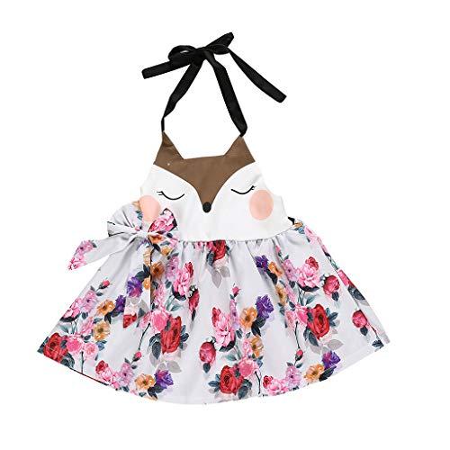 Eishockey Kostüm Für Jungen - squarex Sommer-Kleinkind-Baby-ärmelloser Rock-Karikatur-Blumenpunkt-Druck-Kleid-rückenfreie Kleid-beiläufiges Kleid-Netter Rock bequem