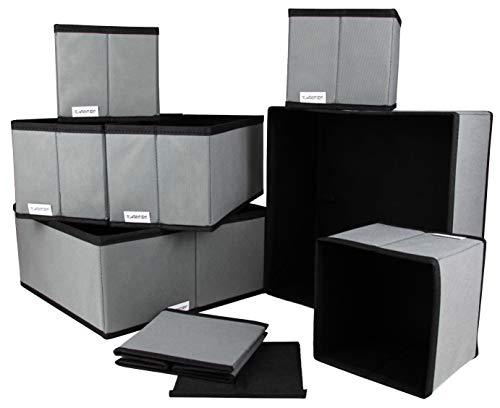 Kamoro 8er Set Aufbewahrungsboxen - Stoffbox Organizer Ordnungssystem faltbar für Schrank und Schubladen - Stoffkiste für Wäsche, Accessoires, etc. (Grau - Schwarz) -