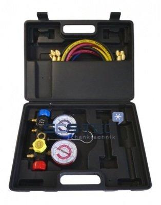 4-Wege Monteurhilfe Set im Koffer, Kältemanometer f. R134a, R404a, R407C, R22
