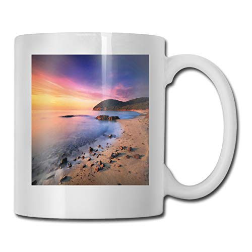 Jolly2T Funny Ceramic Novelty Coffee Mug 11oz,Famous Mediterranean Sun Rise On The Beach with Pebbles Tourism Serene View Print,Unisex Who Tea Mugs Coffee Cups,Suitable for Office and Home 20 Oz Pebble