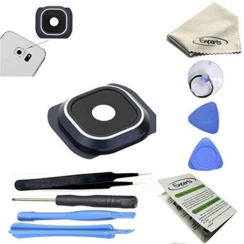 Ewparts für Samsung Galaxy S6 G920A G920T G920S G920F Kamera objektiv Hintere Kamera Glas linse Blenden Ringe + Adhesive + Reparatur-Werkzeug-Kits (Schwarz)