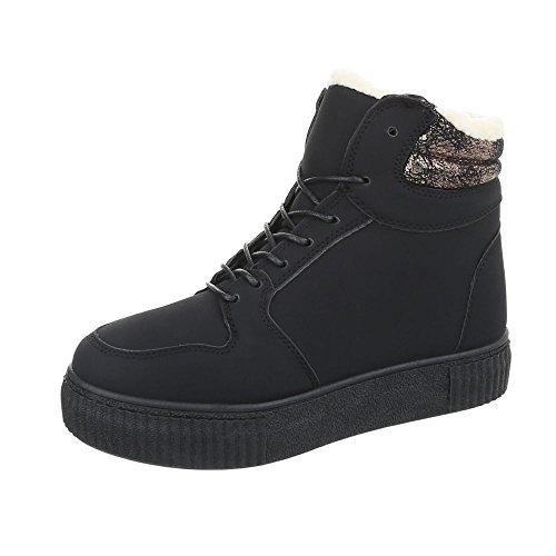Sneakers Alte Sneakers Da Donna Alte Stringhe Calde Foderate Scarpe Casual Ital-design Nero Ja3211