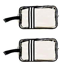 Borsa Cosmetici Trasparente, BETOY 2 Pezzi Impermeabile Sacchetto da Toilette Borsa da Trucco in PVC Cerniera Pochette Trasparente per Viaggio Attività Vacanza Bagno