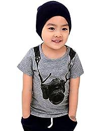 Verano muchacho de los niños Cámara Manga corta Tops Camiseta Tees Koly