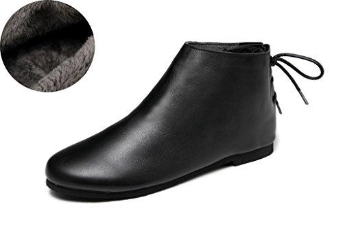 MatchLife Damen Vintage Flach Schnürsenkel Kurzschaft Stiefel Style1-Schwarz-Fleece