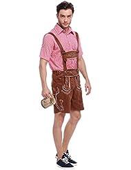 YOUJIA Lederhosen Hombres Tradicional Pantalón para el Halloween Bávaro Disfraz con Tirantes para Oktoberfest Pantalon