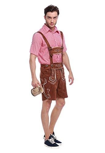Kostüm Guy Oktoberfest - YOUJIA Herren Trachten Hose mit Trägern Oktoberfest Trachtenlederhose Guy Kostüm Hosen (Braun,M)