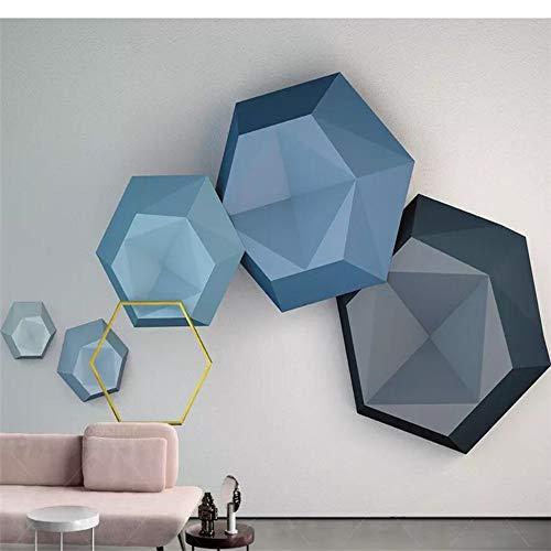 Carta da parati personalizzata foto 3d murale blu esagono nordico moderno geometrico tv sfondo carta da parati murale 3d 300(l) x200(h) cm