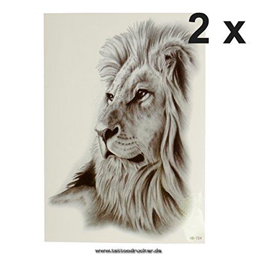 - Lion - Gesicht - schwarzes XL einmal Haut Tattoo - HB724 (2) ()